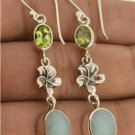 Blue Aquamarine Peridot Gemstone Frangipani 925 Sterling Silver Charm Earrings