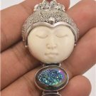 Amazing Moon Face Multi-Color Metallic Druzy Amethyst 925 Solid Silver Pendant