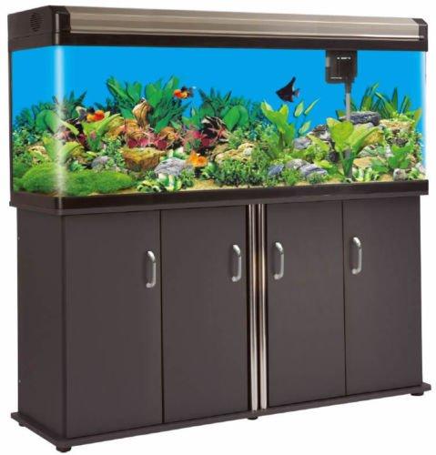 200 Gallon Glass Fish Tank Aquarium w/ Cabinet + LED Lighting