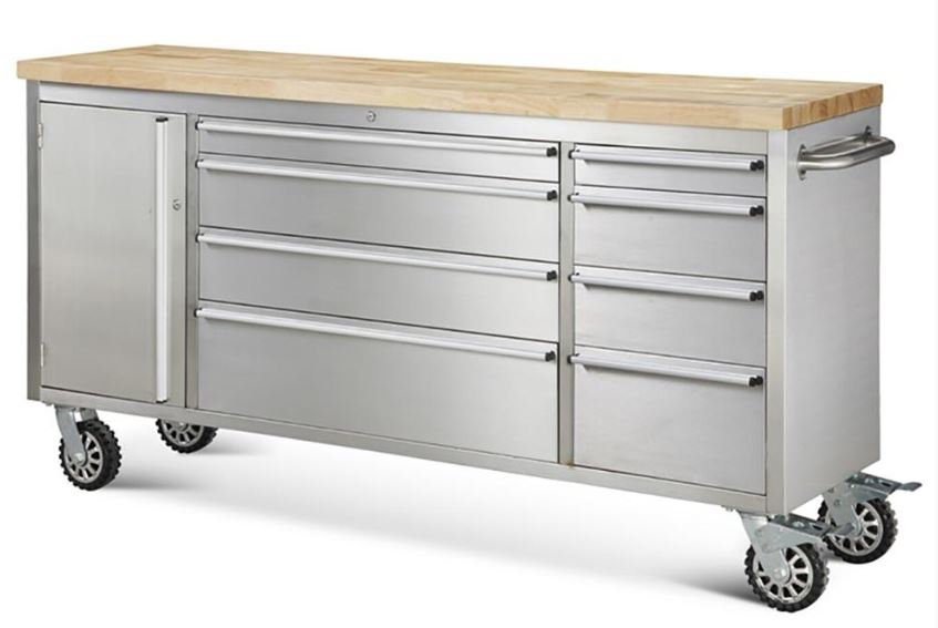 "72"" Stainless Steel Rolling Tool Cabinet w/ Wood Top"