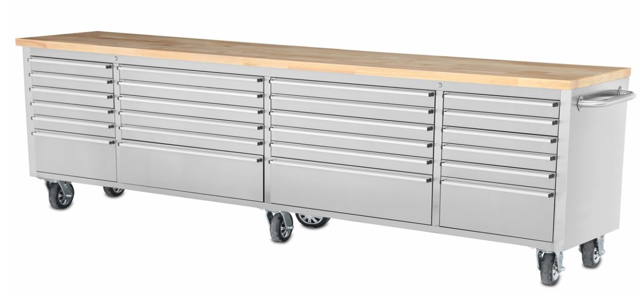 """96"""" Stainless Steel Rolling Tool Cabinet w/ Wood Top"""