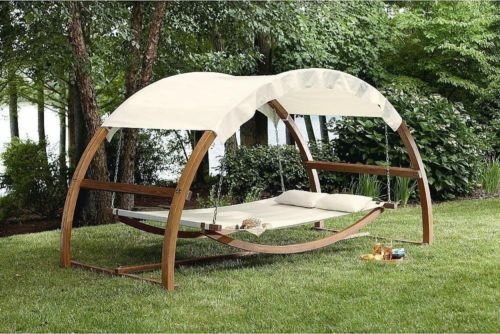 Porch Swing Bed Hammock Patio Furniture Hanging Canopy Wood