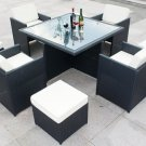 9 Piece Wicker / Rattan Table Set Outdoor Patio Furniture Dining Set