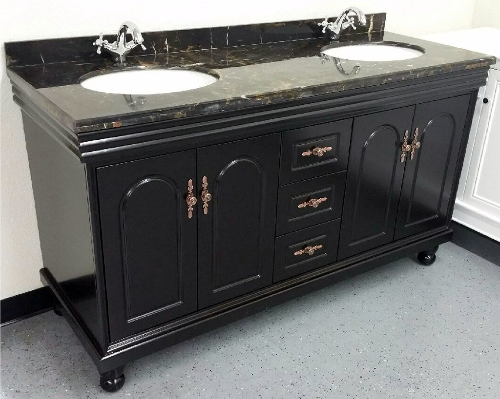"60"" Marble Top Bathroom Double Vanity Cabinet w/ Sinks + Faucets"
