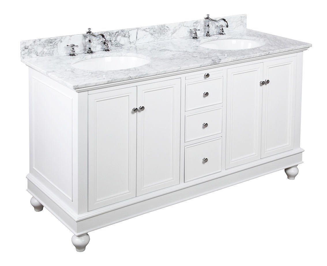 "60"" Carrera White Marble Bathroom Vanity Cabinet Ceramic Sink Soft Close"