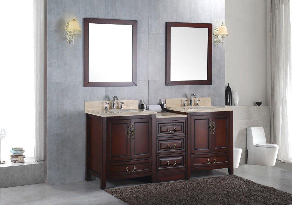 "Double 72"" Bathroom Sink Vanity Solid Wood Cabinet w/ Ivory Cream Marble Top"