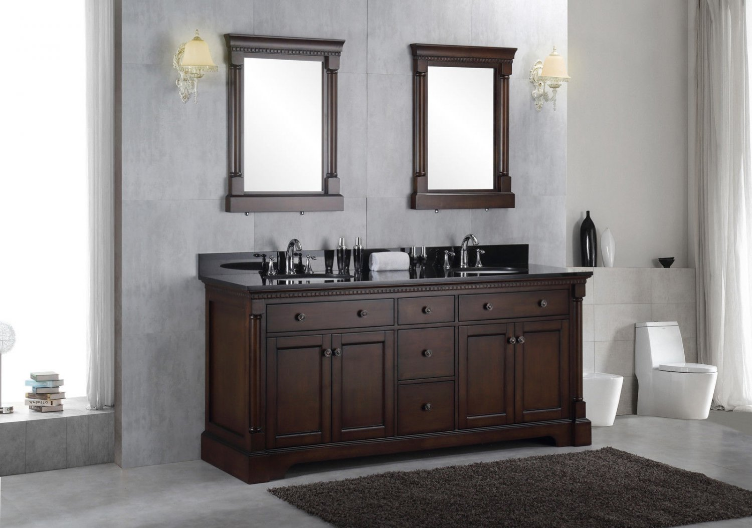 72 solid wood double bathroom vanity sink cabinet w black granite top for Solid wood double sink bathroom vanity