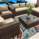 Baja Deluxe Wicker Rattan 5 Piece Outdoor Patio Furniture Set