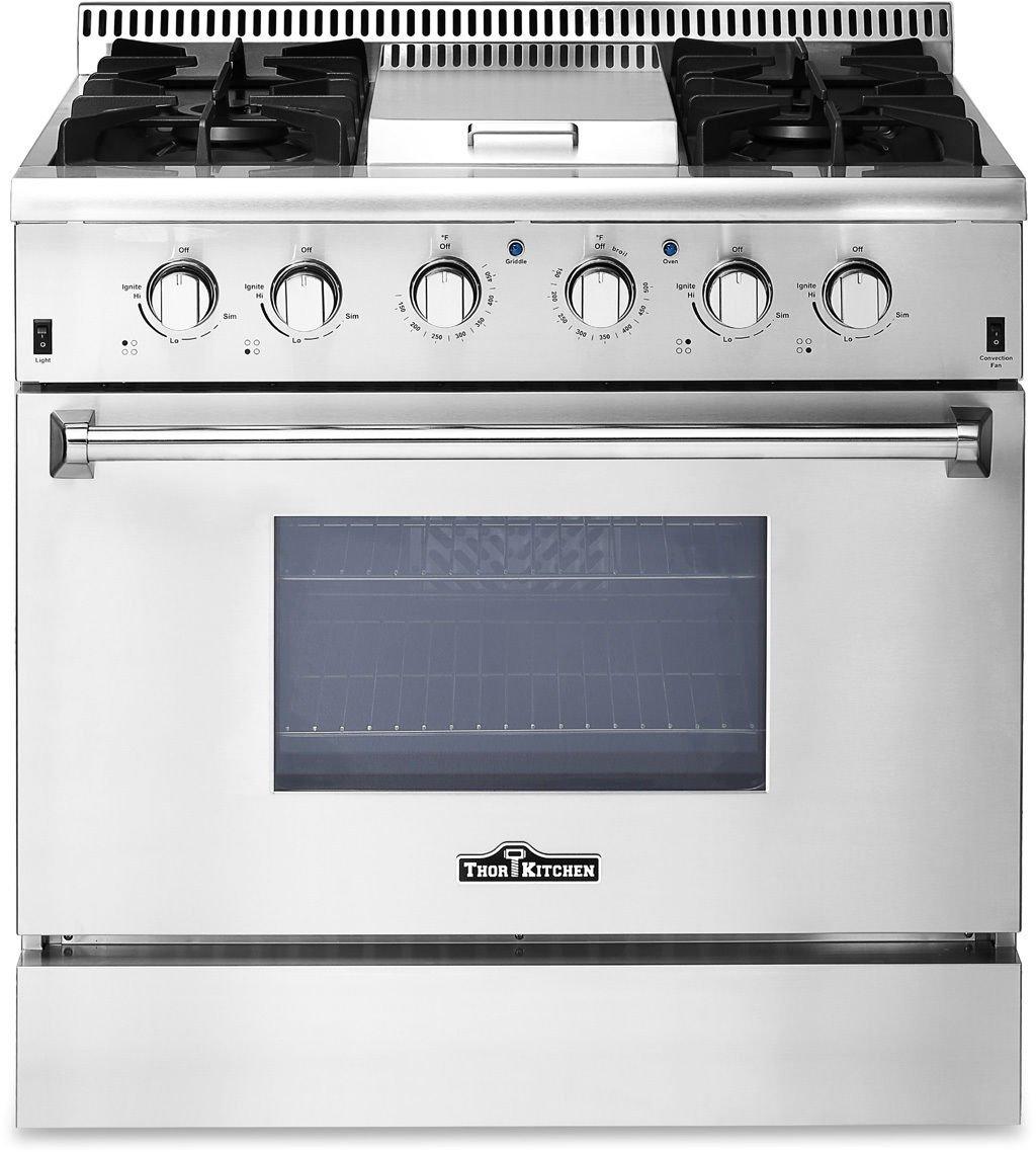 "Thor Kitchen 36"" Professional Gas Range Stove Oven w/ Griddle HRG3617U"