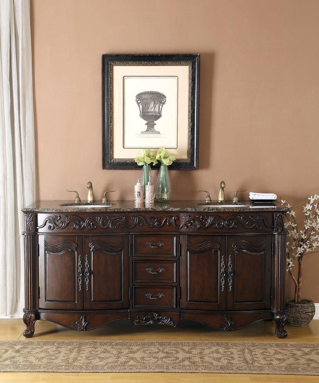 """72"""" Baltic Brown Granite Double Vanity Bathroom Sink Lavatory Cabinet"""