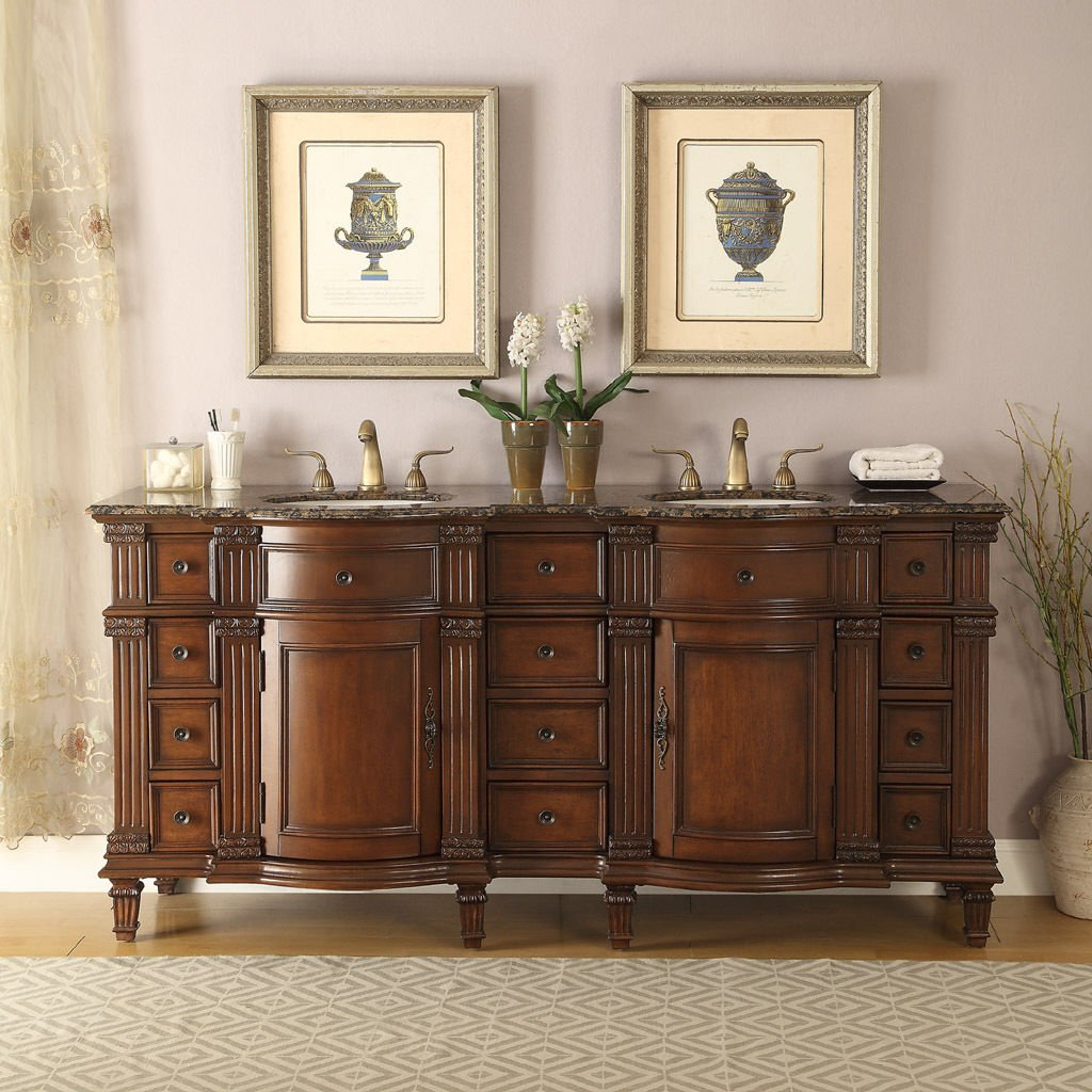"72"" Vanity Bathroom Baltic Brown Granite Top Double Sink Cabinet"