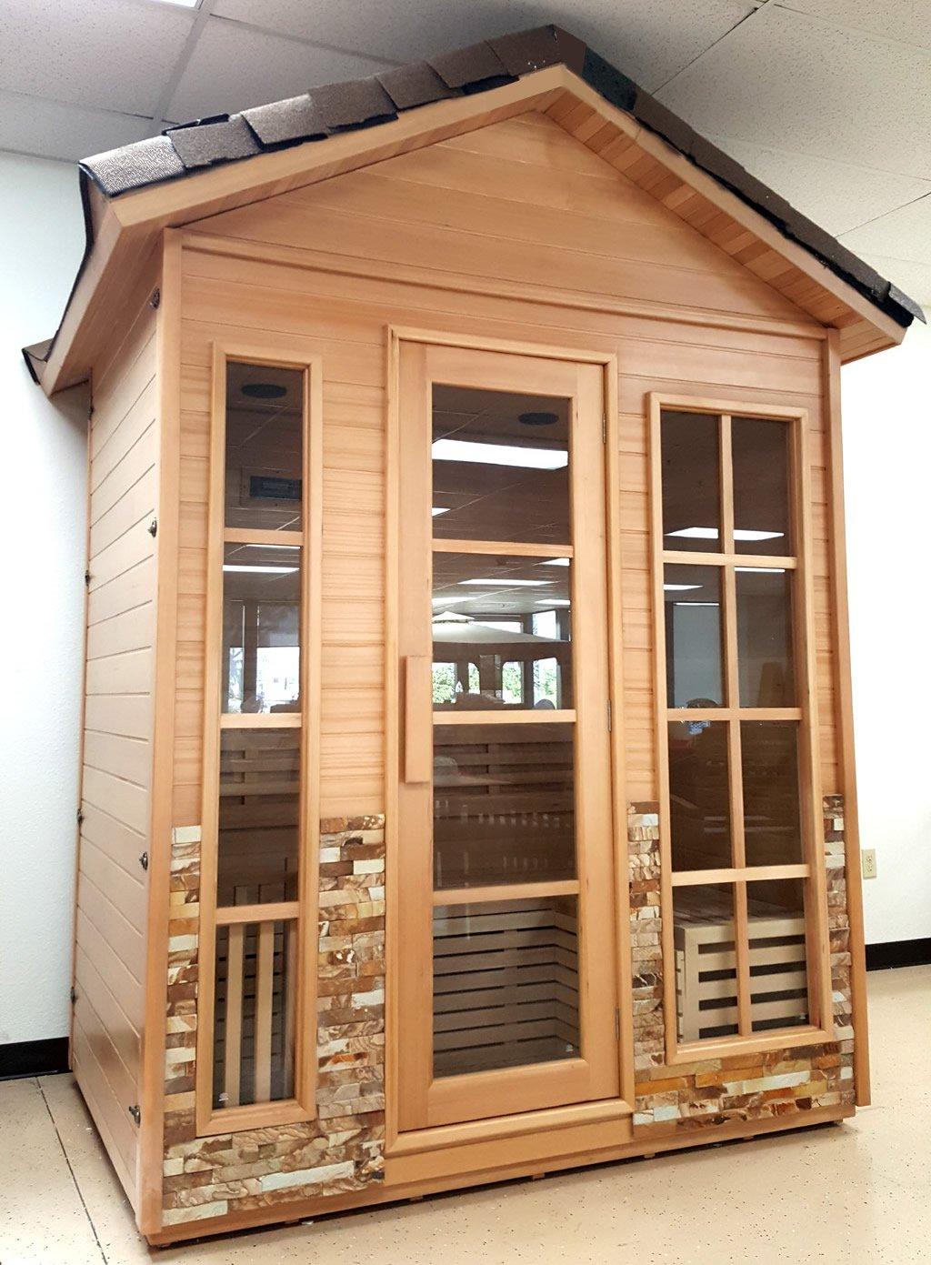 Outdoor Sauna Canadian Hemlock Wet / Dry Swedish Sauna Deluxe SPA