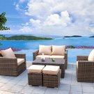 Sunbrella 6 Piece Outdoor PE Rattan Wicker Patio Furniture Sectional Sofa Set
