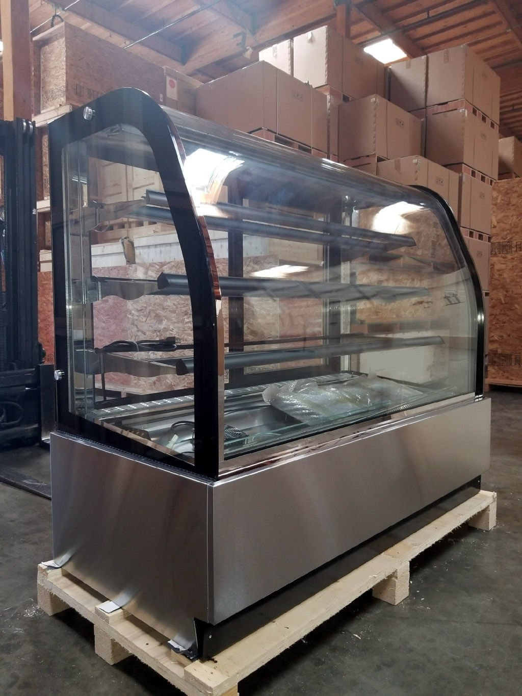 "59"" Curved Glass Stainless Steel Deli Cake Display Refrigerator Full Size"