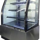 "Curved Glass 36"" Refrigerated Cake Display Cooler Cold Bakery Pastry Case"