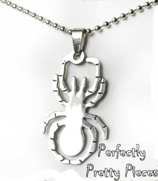 Mens Womens Stainless Steel Spider Arachnid Cutout Necklace ~ Halloween