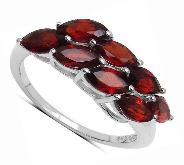 3.60TCW Genuine Red Garnet 925 Sterling Silver Ring  UK N.5 US 7  2.40gr Rhodium
