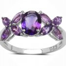 2.40TCW Natural Purple Amethyst  925 Sterling Silver Ring  2.40gr UK N.5 Rhodium