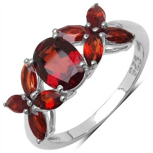 2.96TCW Genuine Red Garnet 925 Sterling Silver Ring  UK Q US 8  2.50grs  Rhodium