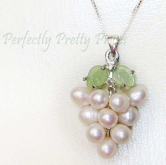"White Cultured Pearl Grape Cluster Jade Leaf 925 Silver 18"" Chain Necklace BOXED"
