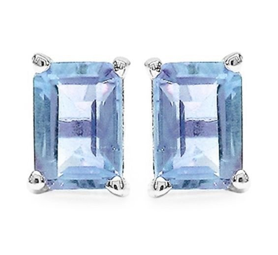 1.36 CTW Blue Topaz 4x6mm Rectangle 925 Sterling Silver Stud Earrings Rhodium Pl
