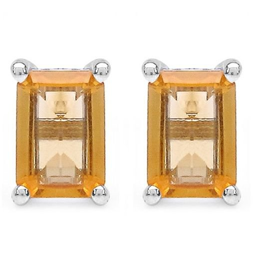 1.00 TCW Yellow Citrine Octagon 925 Sterling Silver Stud Earrings  4x6mm Rhodium