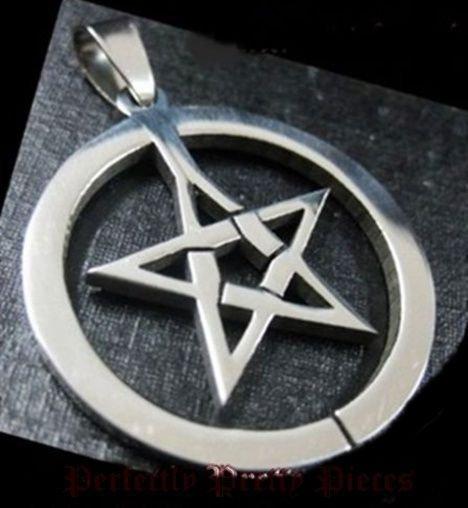 Pentagram Pentacle in Circle Stainless Steel Pendant ~ Unisex ~ Wicca Pagan