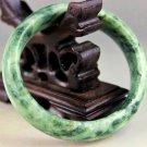 """Green Blend Diopside 'Lantian Jade' 17mm Bangle Bracelet   61mm dia 2-3/8"""""""