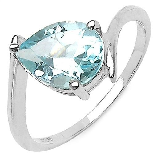 Blue Topaz Teardrop Pear 925 Sterling Silver Ring  1.6TCW  US-8   Rhodium Plate