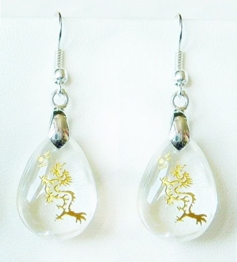 "Golden Chinese Dragon Clear Quartz Crystal Teardrop Earrings  1.75"" 45mm Drop"