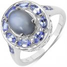 2.27 TCW Grey Moonstone Tanzanite Sterling Silver Ring  UK O ~US 7  Rhodmium Pl