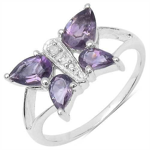 Amethyst & Diamond Butterfly Sterling Silver Ring   UK O US 7  Rhodium Plate