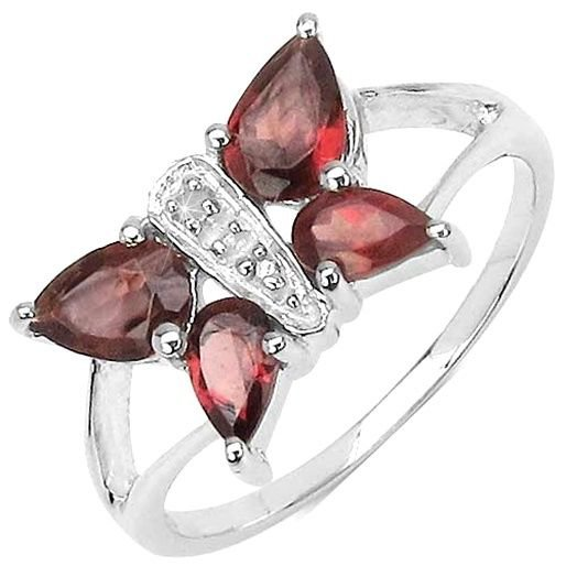 Red Garnet & Diamond Butterfly Sterling Silver Ring   UK O US 7  Rhodium Plate