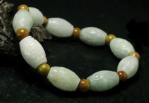 "Carved Jade Pale Green White Brown Bead 8.75"" Stretch Bracelet  BOXED ~HAPPINESS"