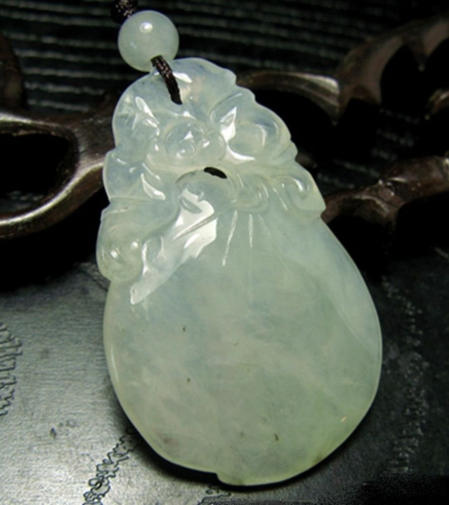 White Green Bat on Peach Jadeite Ruyi Necklace ~ Gift Boxed ~STONE OF HEAVEN
