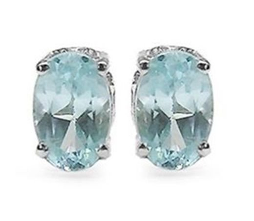 1.30CTW Blue Topaz 4x6mm Oval Sterling Silver Stud Earrings   Rhodium Plated