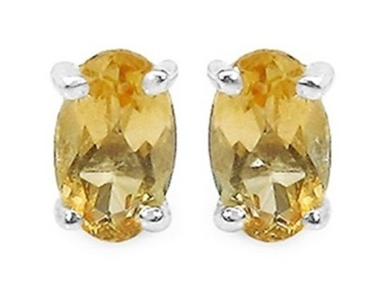 Yellow Citrine Oval .925 Sterling Silver Stud Earrings  4x6mm 0.80CTW Rhodium Pl