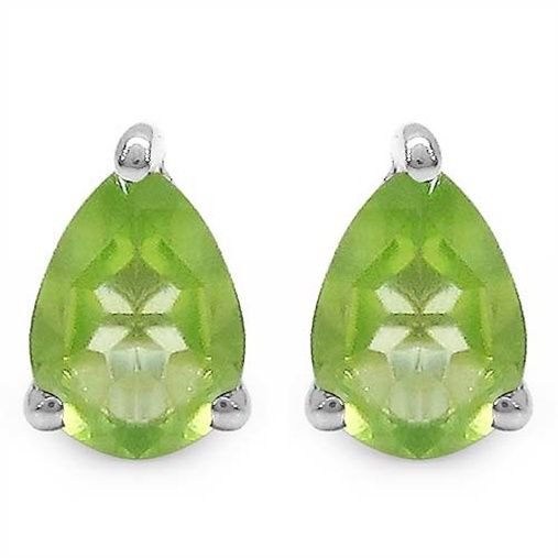 1.33TCW Green Peridot 5x7mm Teardrop Pear Sterling Silver Stud Earrings  Rhodium