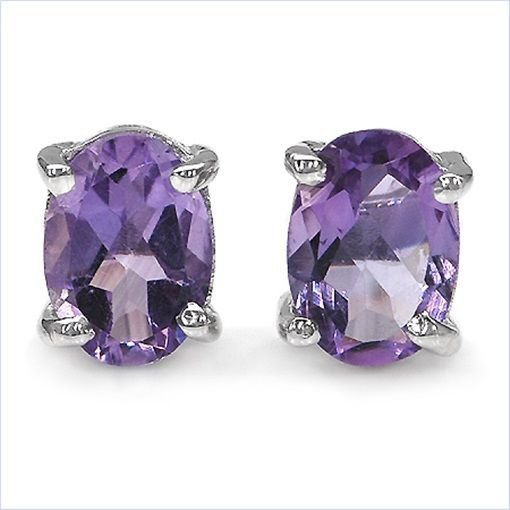 0.85TCW Purple Amethyst 4x6mm Oval Sterling Silver Stud Earrings  Rhodium Plated