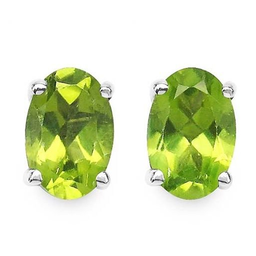 0.96TCW Green Peridot 4x6mm Oval 925 Sterling Silver Stud Earrings  Rhodium Pl