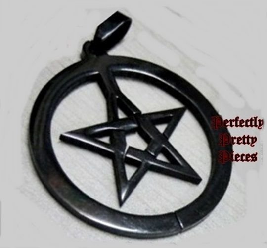 Black Pentagram Pentacle in Circle Stainless Steel Pendant ~ Unisex Wiccan Pagan