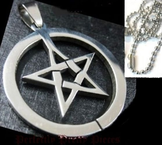Pentagram Pentacle in Circle Stainless Steel Necklace UNISEX Wiccan Pagan