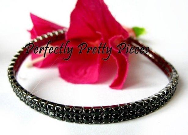 Black 2 Row Czech Crystal Stretch Ankle Bracelet Anklet ~ WEDDING