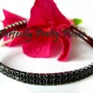 Black 2 Row Czech Crystal Stretch Ankle Bracelet Anklet ~ WEDDING