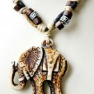Lucky Saddled Elephant Trunk Up Unisex Faux Yak Bone Resin Adj Cord Necklace