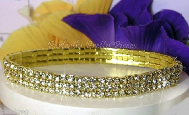 Clear Czech Crystal 3 ROW Gold Plate Ankle Bracelet Anklet