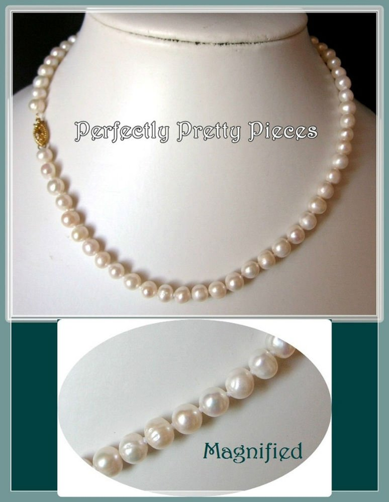 "Ivory White Grade A Akoya Pearl Necklace  6-7mm 17""~ Wedding"