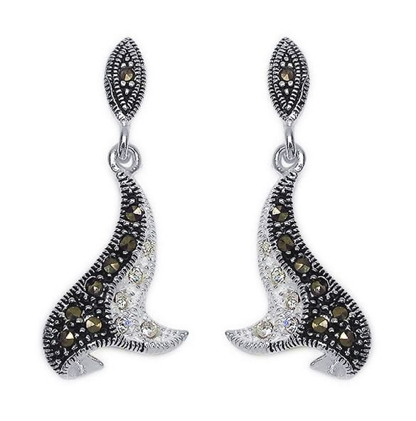 "Marcasite & Cubic Zirconia 925 Sterling Silver Earrings 1.5"" drop Rhodium Finish"