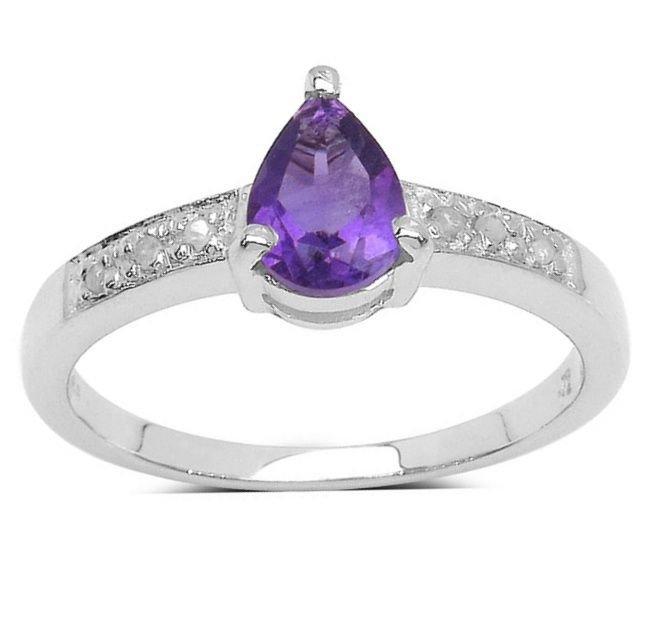 Genuine Amethyst Diamond 925 Sterling Silver Ring   UK N.5  US 7 Rhodium Finish