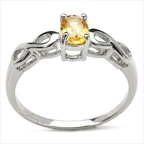Genuine 0.45ct Oval Citrine 925 Sterling Silver Ring   UK M  US 6 Rhodium Finish